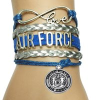 air force bar - Drop Shipping Infinity Love Air Force Bracelet Leather Velvet Biraid United States Symbol Charm Bracelet Bangle Department