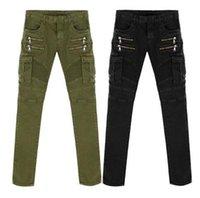 acid green - Famous Jeans Men NEW Green Black Denim Biker Skinny jean slim elastic Hiphop Washed