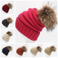beach headgear - Unisex Beanie Skull Caps CC Knitted Hats Cap Beanies Fur Pom Poms Beanies Autumn Winter Casual Cap Women Men Headgear Head Warmer F125