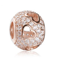 Wholesale 2016 Tumbling Heart Charm Fit Pandora Bracelets DIY Sterling Silver Rose Gold Plated Pave CZ Beads For Jewelry Making