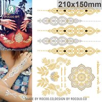 Wholesale VT334 Best Quality Fashional Temporary Mandala Flower Tattoo Metallic Gold Silver Indian Henna Flash Body Hands Tattoo Sticker