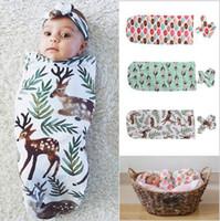 Wholesale Baby Sleeping Bags Headband Deer Donut Feather Print Children Cotton Swaddle Blankets Newborn Fashion Infant Set Cute