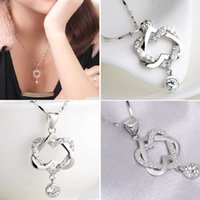 Wholesale 2017 Hot selling Silver Plated Women Double Heart Pendant Necklace Chain Jewelry for Women girlfriend gift