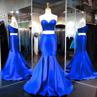 apple bottom shirt - 2 Pieces Prom Dresses k17 with Sweetheart Top and Formfitting Bottom Real Images Royal Blue Satin Mermaid Prom Dress Sweep Train In Stock