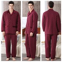 Wholesale Fall new men pajama middle aged home casual wear long sleeved cotton cardigan grid quality men s lapels