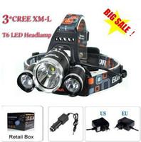 Wholesale 3T6 Headlamp Lumens x Cree XM L T6 Head Lamp High Power LED Headlamp Head Torch Lamp Flashlight Head charger car charger Free Ship