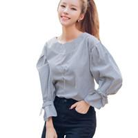 Wholesale Women Blouses Black and White Striped Long Sleeve Womens Tops Ladies Shirts Autumn Bow Tie Elegant Blouse