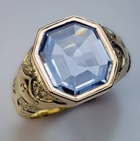 antique yellow sapphire ring - Antique Ct Blue Sapphire Chased Gold Men Ring
