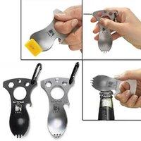 Multifonctions Outdoor Gadgets Outdoor Camping Equipment Cuillère en acier inoxydable fourchette clé Wrench Argent Noir Avec Forfait A259