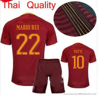 Casual Shirts Short Sleeve Polyester top Thai quality 16 17 ROMA Home red Soccer jersey 2017 TOTTI NAINGGOLAN DZEKO DE ROSSI El Shaarawy roma away white Football shirt