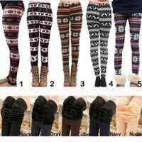 Wholesale 2016 Fall Winter Women Leggings Fur Thick Warm Fleece Snowflake Deer Printed Lady s Black Tights Pencil Bodycon Pants Colors M139