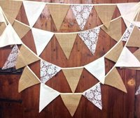 Wholesale 3M Wedding Party Home Decoration Supplies Vintage Banner Hessian Fabric Bunting Burlap Cord Jute Rope Photobooth Lace Flag