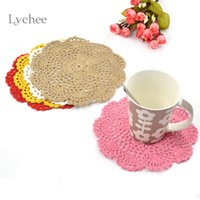 Wholesale Pieces Cotton Handmade Crochet Doilies Cup Mat Pad Coaster Hook Flower Doily Table Mats Tableware Placemat Coasters