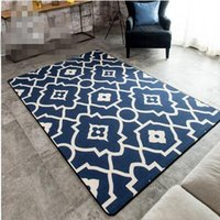 Wholesale Contemporary and contracted Mediterranean geometric carpet sitting room sofa tea table official bedroom bed bed mat blue MATS