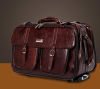 Wholesale TRAVEL BAG ROLLING Luggage Suitcase Leather boarding package carry on Business Travel Trip Bags