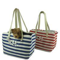 Wholesale High quality Dog Carrier Bag Fashion Stripe windproof Canvas Luxury Dog Bag Portable Dog Travel Bag Shoulder Pet Carrier Bag
