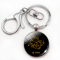 Metal aries birthday gifts - Birthday Christmas Gift Cute Cartoon Pattern Constellations Zodiac Signs Keychains Aries Gemini Round Key Chain Rings Jewelry