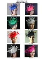 Wholesale Felt fascinator with feathers and veiling for wedding kentucky derby black red powder blue coral pink silver grey dark purple hot pink ivory