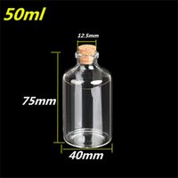 Wholesale 50ml Transparency Glass Bottles With Cork mm For Wedding Holiday Decoration Christmas Gifts