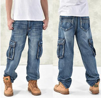 Wholesale Fashion Men s Baggy Hip Hop Jeans Plus Size Multi Pockets Skateboard Cargo Jeans For Men Tactical Denim Joggers