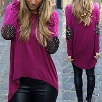 Wholesale NEW Women Shirt for Summer Fashion Sequins Irregular shirts with long sleeve tops for women
