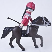 Wholesale Plastic Puzzle Red Suit Horseman Brown Horse Equestrianism Performance Scene Toys