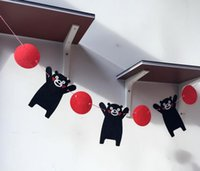 Non-woven Fabrics black bear decor - New Party Garland Kumamon Flags Bunting Cute Black Bear Banner Home Wall Decorations Kids Birthday Party Decor Party Supplies