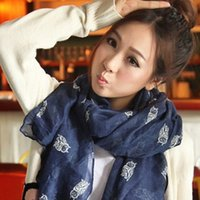 Wholesale New Fashion women winter and autumn scarves owl print voile scarf bufandas brand big size soft woman scarf shawl