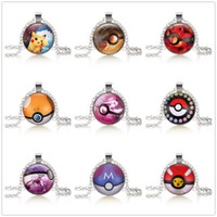 Wholesale 55cm New Poke doll Pikachu Silver Plated Jewelry with Glass Cabochon Long Choker Pokeball Pendant Necklace for child Christmas Gift