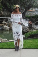 Wholesale 2017 High Low Country Wedding Dresses Lace A Line Off Shoulder Vintage Long Sleeve Bridal Gowns Cheap Wedding Dress