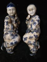 Wholesale Antique Collection Folk Art Rare Chinese White Blue Porcelain Hand painting Man woman smoking Statues C009