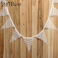 Grossiste-Vintage Romantique Hessian Burlap Banner Rustique Mariage D'anniversaire Xmas Blanc De Lace Bunting Décor Fabric Artisanat Fournitures 2.9m