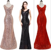 Wholesale Bling Sequined Vintage Red Black Mermaid Evening Dresses V Neck Sheer Backless Sweep Train Celebrity Evening Prom Gowns Real Photos CPS371