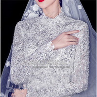 Wholesale High Neck Muslim Wedding Dresses Long Sleeves White Ball Gown Princess Plus Size Bridal Wedding Dresses for Pregnant Bridal Woman High Waist