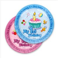 Wholesale Paper Plates For First Birthday Party Festival Holiday Supply inch