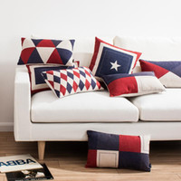 american flag chair - Europe British Swiss American flag red blue style decorative throw pillows Nordic plaid rhombus pentacle geometric chair cushions for sofa
