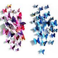 Wholesale 12 D Wall Stickers Butterfly Fridge Magnet PVC Stickers for Home Decoration DIY wall sticker d Fridge Magnet for kids