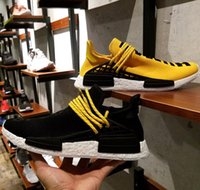 Wholesale Vibrant Colors NMD Human Race Pitch Black Pharrell Williams Hu Special NMD Runner Boost Shoes Yellow nmds Running Shoes With Box