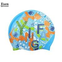 achat en gros de yingfa nager-Grossiste-Sport 2016 Nouveau Femmes Cartoon Bonnet de natation Yingfa Marque de haute qualité Silicone imperméable natation pour adultes sports nautiques