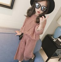 arrival knitted wear - 2016 New Arrival Fashion Knitted Outfits Kids Girl Winter Wear Clothing Sets Sweater Long Loose Pant Colors Children Casual Cothing