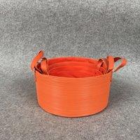 antique japanese toys - Storage Baskets Bins Kids Room Toys Stocked Folding Bucket Clothing Organizer Laundry basketful orange canvas Organizer rattan stripe