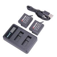 Batería del Li-ion de Freeshipping 1pcs / 2pcs / 4pcs AHDBT-501 Cargador inteligente del LCD del cargador del USB 1220mAh + 1PCS para la cámara del héroe 5 de Gopro