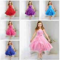Wholesale Kids Girls Flower sequins Formal Party Ball Gown Prom pageant Princess Bridesmaid Wedding Children Tutu Dress Size Y