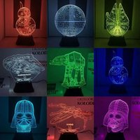 HOT 3D Звездные войны привели Millennium Сокола starwar 10 стиль Millefalcon Оптический Night Light Акриловые Light панель DC 5V Свободный Fedex DHL TNT
