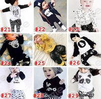 bear brand milk - Spring Summer INS Infant Baby Bear Fox long sleeved Letter Print Cotton T shirt Tshirt Infant milk striped pants two piece suits sets