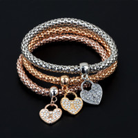 Wholesale 3 styles Elastic Corn Chain with Diamond Heart Pendant Top Quality Bracelets Bangles Three Color Jewelry Set for Women