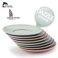 Wholesale 4pcs set Wheat Straw Multi Plate Dish Set Dinner Snacks Plate Round Fruit Tray Dishes Kit Tableware