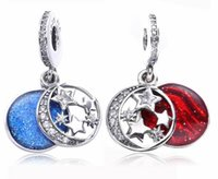 Wholesale 2017 Drop Moon and Star Sky Series Charm Fit For Pandora Bracelet DIY Bead Charm Sterling Silver Jewelry