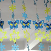 Wholesale PVC cartoon curtain blue butterfly string curtain children s room decorations partition colored plastic curtain