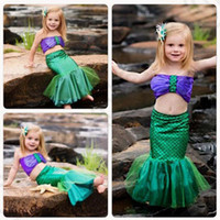 Wholesale Baby Kids Mermaid Tails Swimwear Bikinis Costume Swimsuit Child Bathing Suit Girls Mermaid Princess Dress set OOA1122